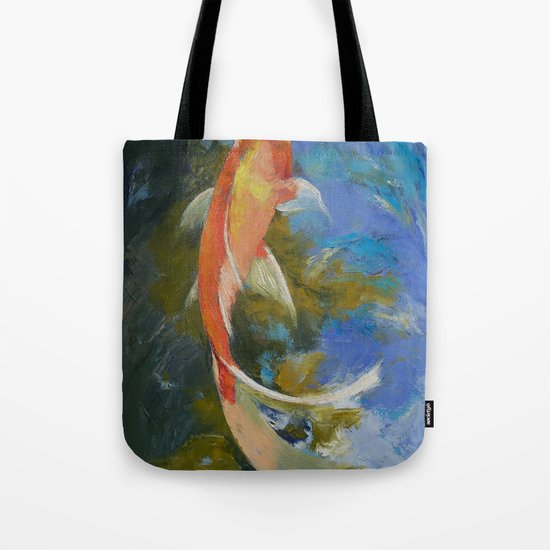 Butterfly Koi Painting Tote Bag