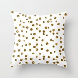 Gold Glitter Confetti Throw Pillow
