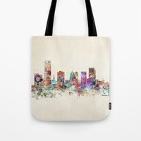 oklahoma Tote Bags featuring oklahoma city oklahoma by bri.buckley
