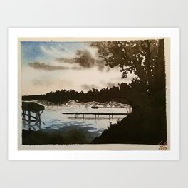 Shadows and Some Trees Encroach On An Unsuspecting Lake Art Print