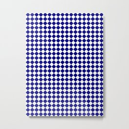 White and Navy Blue Diamonds Metal Print