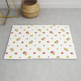 Bell Peppers and Guinea Pigs Pattern in White Background Rug