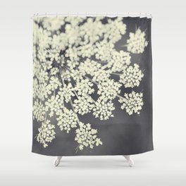 Black and White Queen Annes Lace Shower Curtain
