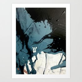 Fortune [5]: A bold, minimal, abstract mixed-media piece in blue and black Art Print