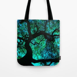 Under The Tree Blue and Green Tote Bag