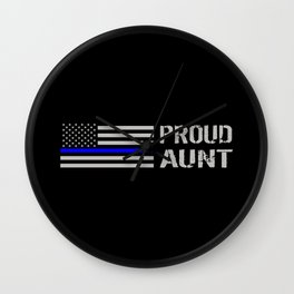 Police: Proud Aunt (Thin Blue Line) Wall Clock