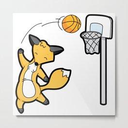 Basketball Playing Happy Fox Metal Print