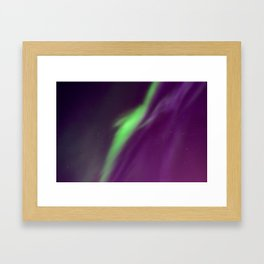 Beautiful northern lights in the sky. Aurora borealis, Kiruna, Sweden. Framed Art Print