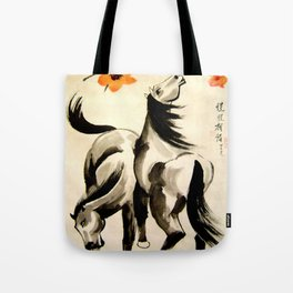 horses under floral tree Tote Bag