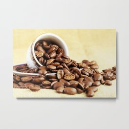 Old coffee cup with coffee beans kitchen image in color Metal Print