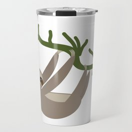 cute Three-toed sloth on green branch Travel Mug