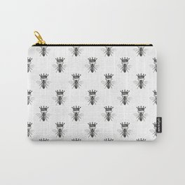 Queen Bee Pattern No. 1 | Vintage Bees with Crown | Black and White | Carry-All Pouch
