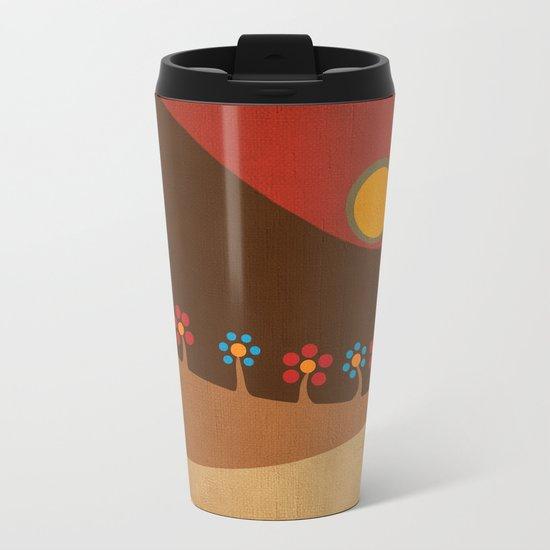 Circular landscape & flowers Metal Travel Mug