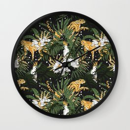 Animals in the glamorous nocturnal jungle Wall Clock