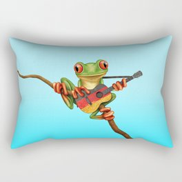 Tree Frog Playing Acoustic Guitar with Flag of Germany Rectangular Pillow