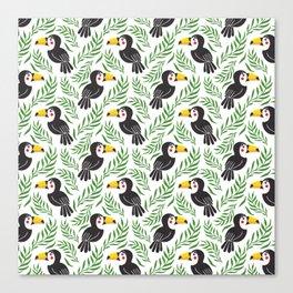 Watercolor green black yellow toucan bird floral Canvas Print