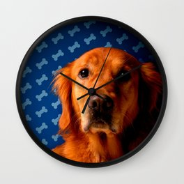 Golden Retriever blue bone background Wall Clock