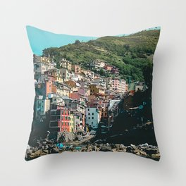 Colored Houses of Italy Throw Pillow