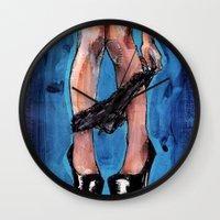 legs Wall Clocks featuring legs by joseph arruda (zeruch)