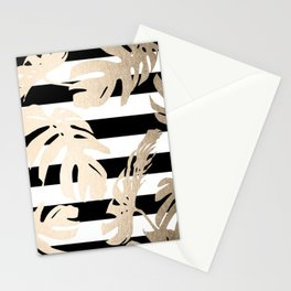 Simply Tropical Palm Leaves on Stripes Stationery Cards