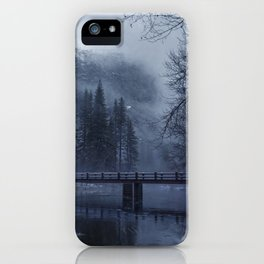 Swinging Bridge over Merced River in Yosemite National Park in the blue of the Early morning iPhone Case