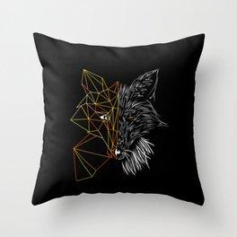 Geometric Fox, Black version Throw Pillow