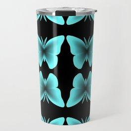 Blue Butterfly Print / Pattern Travel Mug