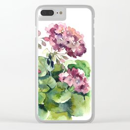 Watercolor pink geranium flowers aquarelle Clear iPhone Case