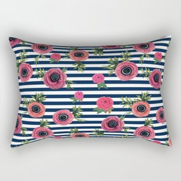 Watercolor Flowers with Nautical Stripes Rectangular Pillow