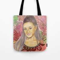 ariana grande Tote Bags featuring Ariana II by Share_Shop