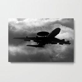 E-3 AWACS plane sunset take off Metal Print