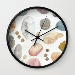 river rocks collection // watercolor arizona rock rainbow nature landscape Wall Clock