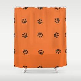 Black doodle paw prints with orange background Shower Curtain