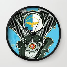 Azores Islands Motorcycle Culture. Wall Clock
