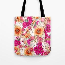 Pink orange spring vintage floral watercolor illustration pattern Tote Bag