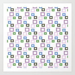 Geometrical lilac lavender blue forest green squares pattern Art Print