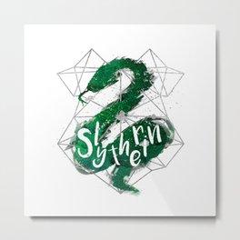 Slytherin Silver Splatter Metal Print