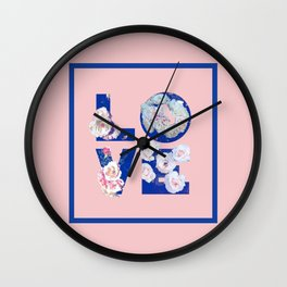 Floral LOVE #society6 #love #floral Wall Clock