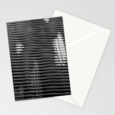 Wavy/Aqua Building Photo, Chicago, Architecture, Black and White Stationery Cards