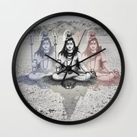 shiva Wall Clocks featuring Shiva by Jonnea Herman