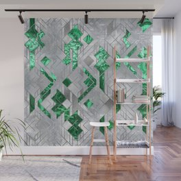 Abstract Geometric Malachite and Mother of pearl Wall Mural