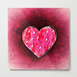 Cute Hand Drawn Pink Heart on a Grunge Texture Metal Print