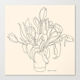 Tulip Bouquet Line Drawing Canvas Print