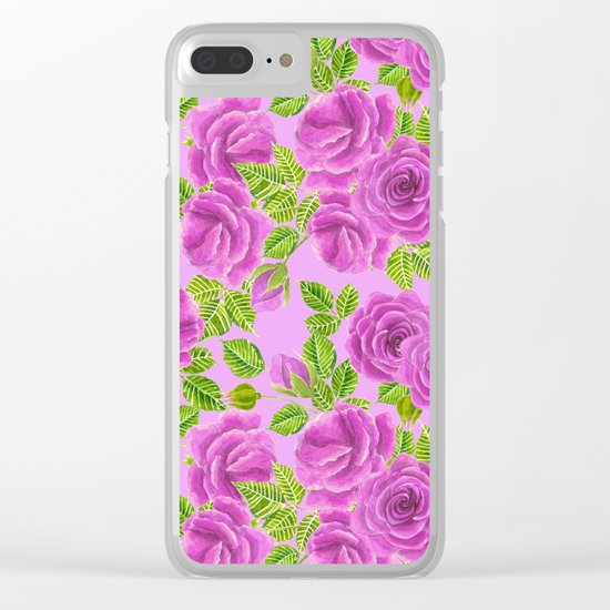 Violet roses watercolor pattern design Clear iPhone Case