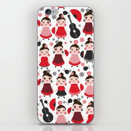 pattern spanish Woman flamenco dancer. Kawaii cute face with pink cheeks and winking eyes. iPhone Skin