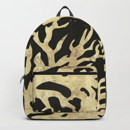 Golden corals on black ink Backpack