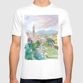 Italian Country Town Liguria with Creek And Bridge T-shirt