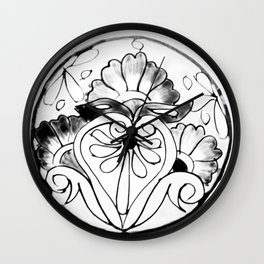 Black and White Talavera Five Wall Clock