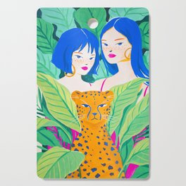 Girls and Panther in Tropical Jungle Cutting Board