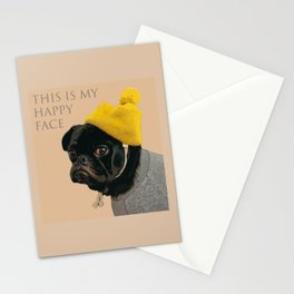 Pug love - Dog - This is my happy face Stationery Cards